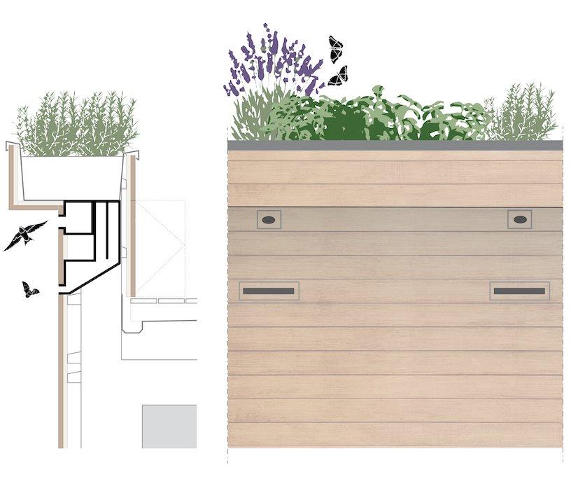 Natuurinclusief ontwerp Dakrand & Aanzicht Nest architect
